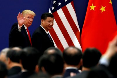 U.S. President Donald Trump and China's President Xi Jinping meet business leaders at the Great Hall of the People in Beijing, China, 9 November 2017 (Photo: Reuters/Damir Sagolj).