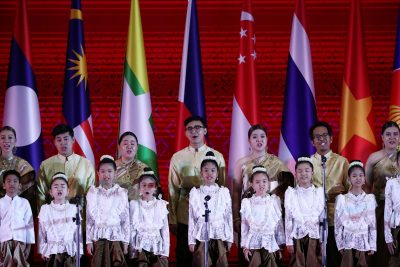 Singers take part in a song during the Opening Ceremony of the 35th ASEAN Summit in Bangkok, Thailand, 3 November 2019 (Photo: Reuters/Athit Perawongmetha).