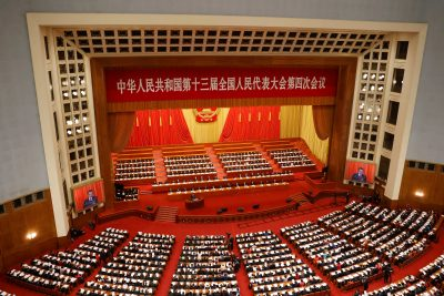 Chinese Premier Li Keqiang speaks at the opening session of the National People's Congress at the Great Hall of the People in Beijing, China, 5 March 2021 (Photo: Reuters/Carlos Garcia Rawlins).